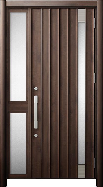玄関ドア リシェント3 断熱仕様 K2 P77型 片袖中桟付ポスト無ドア W:1,051~1,336mm × H:2,040~2,439mm リクシル トステム