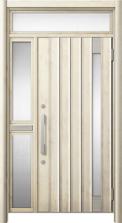 玄関ドア リシェント3 断熱仕様 ランマ付 K4 P77型 片袖中桟付ポスト付ドア W:1,051~1,336mm × H:1,974~2,300mm リクシル トステム
