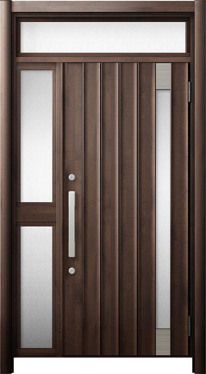 玄関ドア リシェント3 断熱仕様 ランマ付 K4 P77型 片袖中桟付ポスト無ドア W:1,051~1,336mm × H:1,974~2,300mm リクシル トステム