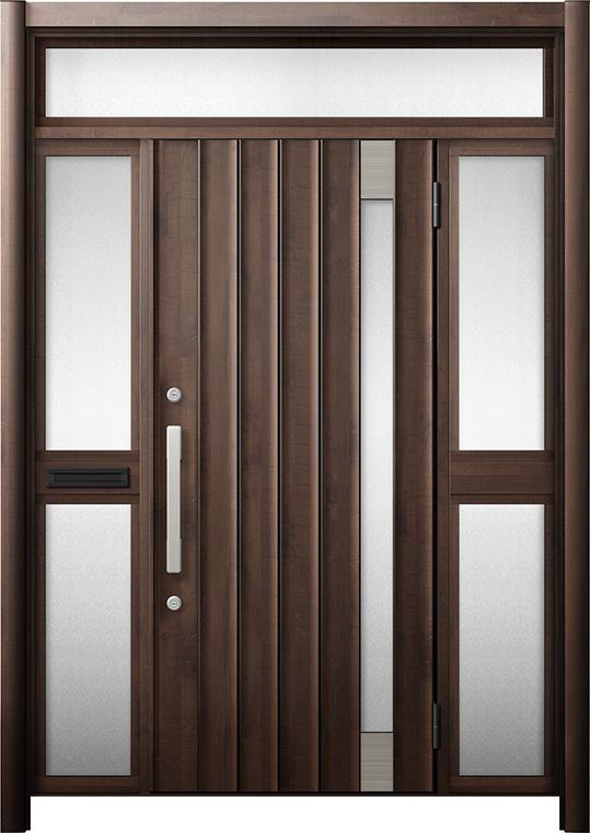 玄関ドア リシェント3 断熱仕様 K4 P77型 両袖ランマ付中桟付ポスト付 W:1,530~1,695mm × H:2,301~2,600mm リクシル トステム