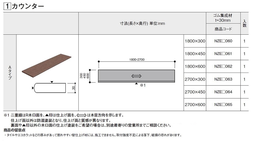 集成カウンター カウンター Aタイプ クリエカラー W:1,800 × D:450mm 1枚入 造作材 LIXIL リクシル TOSTEM トステム