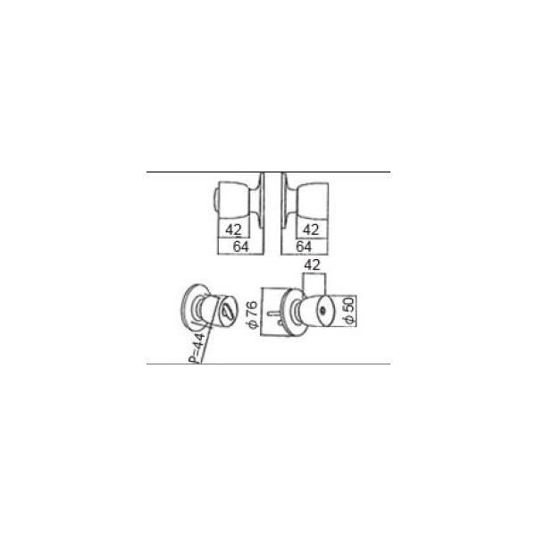 リクシル ドア・引戸用部品 錠 玄関・店舗・勝手口・テラスドア 把手:握り玉セット DASZ001A LIXIL トステム メンテナンス DIY リフォーム