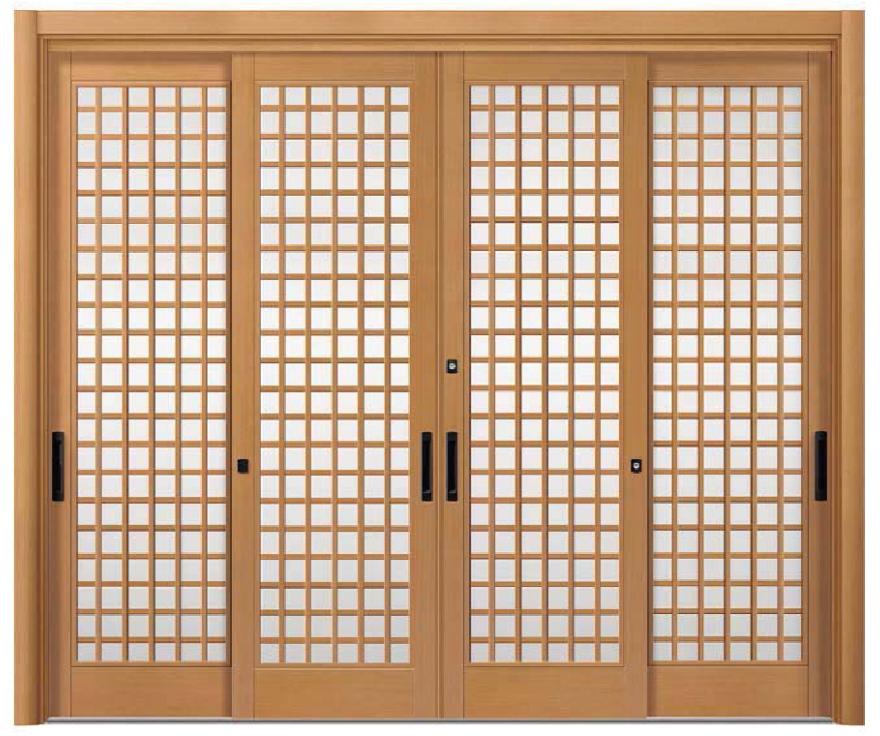 リシェント ReChent 玄関引戸 PG仕様 4枚建戸ランマ無 19型(木蓮格子)W:2,801-3,800mm × H:1,761-2,277mm 玄関ドア リクシル LIXIL DIY リフォーム