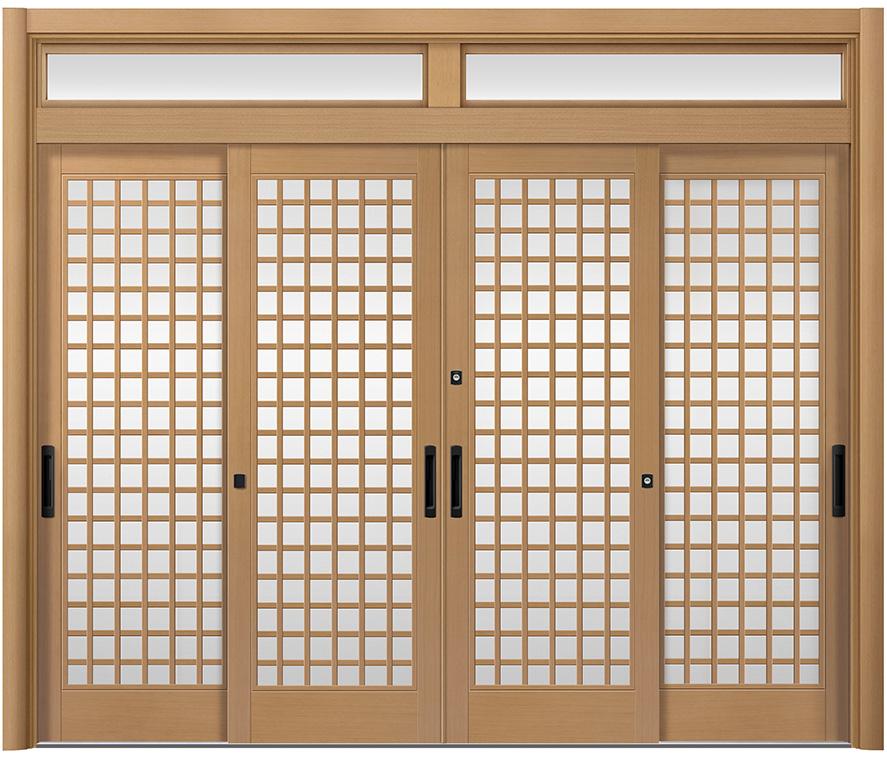 リシェント ReChent 玄関引戸 PG仕様 4枚建戸ランマ付 19型(木蓮格子)W:2,357-2,800mm × H:2,056-2,300mm 障子高SH:1700mm 玄関ドア リクシル LIXIL DIY リフォーム