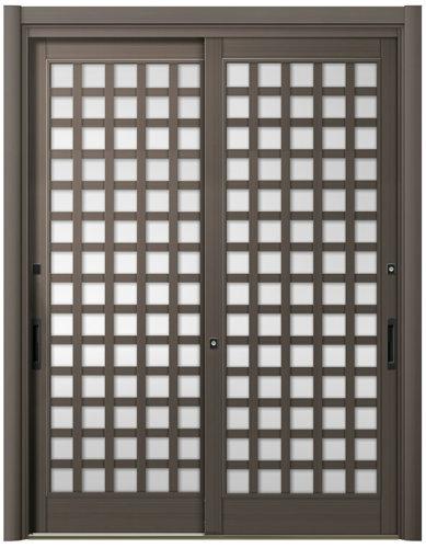 リシェント 玄関引戸 PG仕様 簡易タッチキー,CAZASキー 2枚建戸ランマ無 25型 井桁格子ガラス入り完成品 W:1,693~1,870mm × H:1,982~2,277mm リクシル DIY リフォーム
