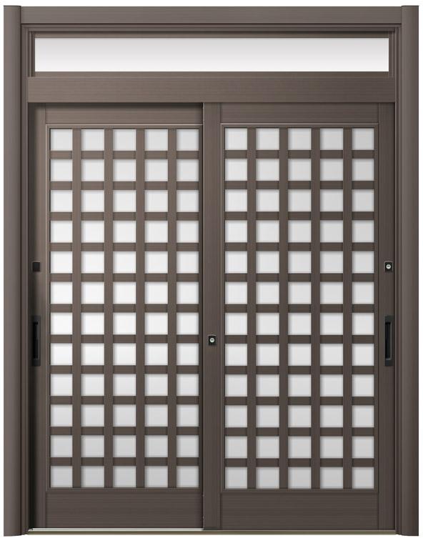 リシェント ReChent 玄関引戸 PG仕様 2枚建戸ランマ付 25型 井桁格子 W:1,195~1,700mm × H:2,056~2,300mm 障子高SH:1,700mm 玄関ドア リクシル LIXIL DIY リフォーム
