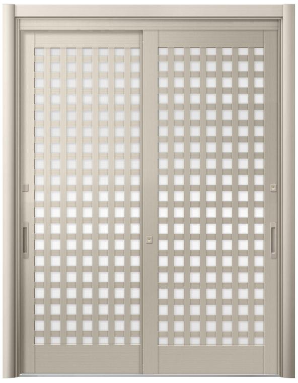 リシェント 玄関引戸 SG仕様 簡易タッチキー,CAZASキー 2枚建戸ランマ無 54型 井桁格子 ガラス入り完成品 W:1,195-1,692mm × H:2,005-2,300mm リクシル DIY リフォーム