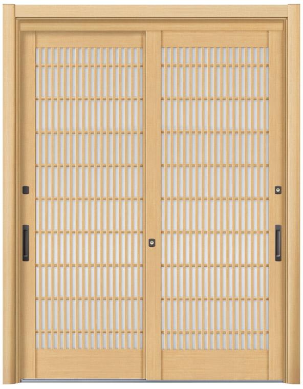 リシェント 玄関引戸 SG仕様 簡易タッチキー,CAZASキー 2枚建戸ランマ無 56型 柳格子 ガラス入り完成品 W:1,693-1,870mm × H:2,005-2,300mm リクシル DIY リフォーム