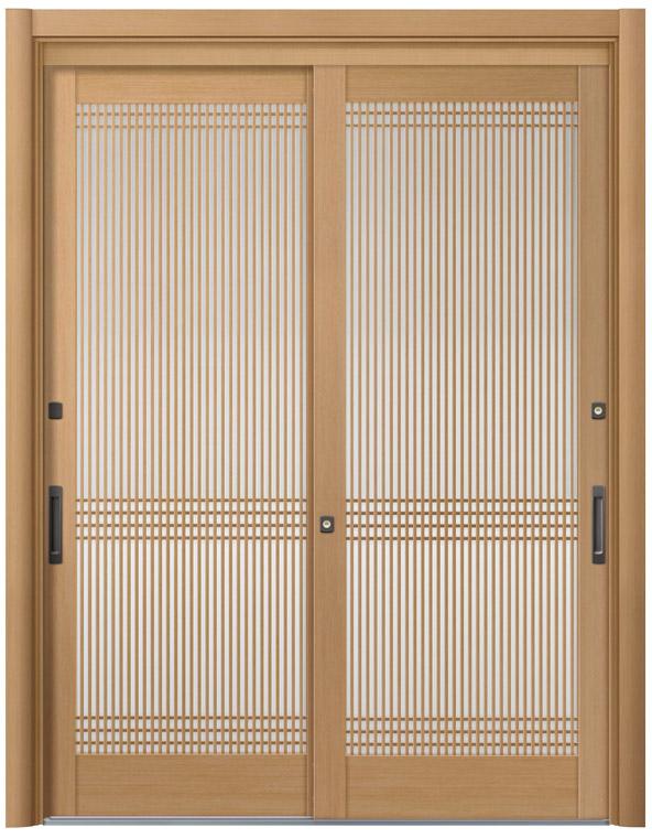 リシェント ReChent 玄関引戸 SG仕様 2枚建戸ランマ無 57型 万本格子横目 W:1,693-1,870mm × H:1,584-2,300mm 玄関ドア リクシル LIXIL DIY リフォーム