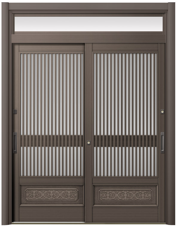 リシェント ReChent 玄関引戸 SG仕様 2枚建戸ランマ付 60型 千本格子腰付 W:1,693-2,604mm ×H:2,201-2,500mm,障子高SH:1,800mm 玄関ドア リクシル LIXIL DIY リフォーム