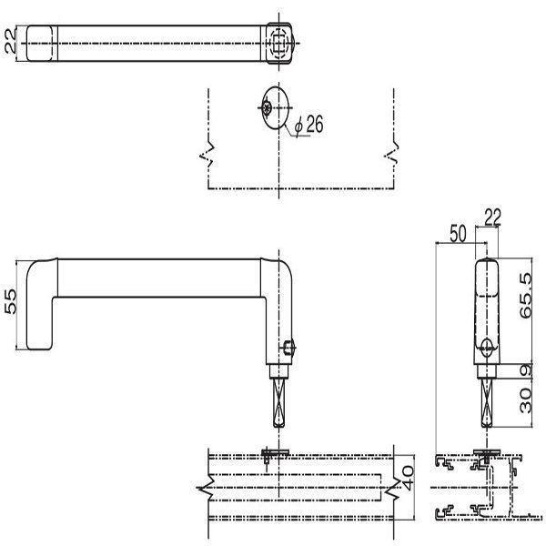 【YKKAPメンテナンス部品】取外しハンドル(HH-2K-19043L) DIY リフォーム