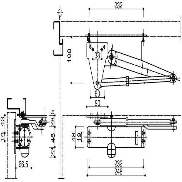 【YKKAPメンテナンス部品】ドアクローザ(HH-2K-19864) DIY リフォーム