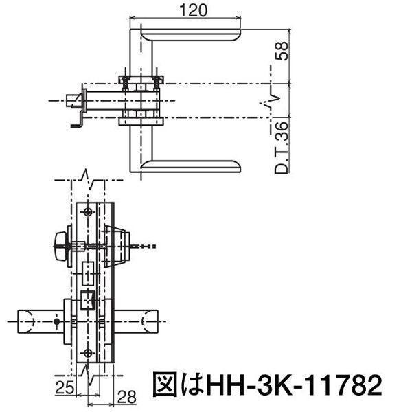 【YKKAPメンテナンス部品】掘込型レバーハンドル錠(HH-3K-11782) DIY リフォーム