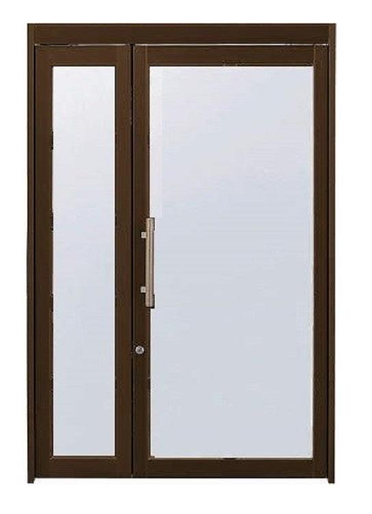 店舗ドアDX 親子ドア ランマなし 全面ガラスドア 押棒把手仕様 W:1,350mm × H:2,000mm 単板ガラス仕様 自由開き戸 YKK AP