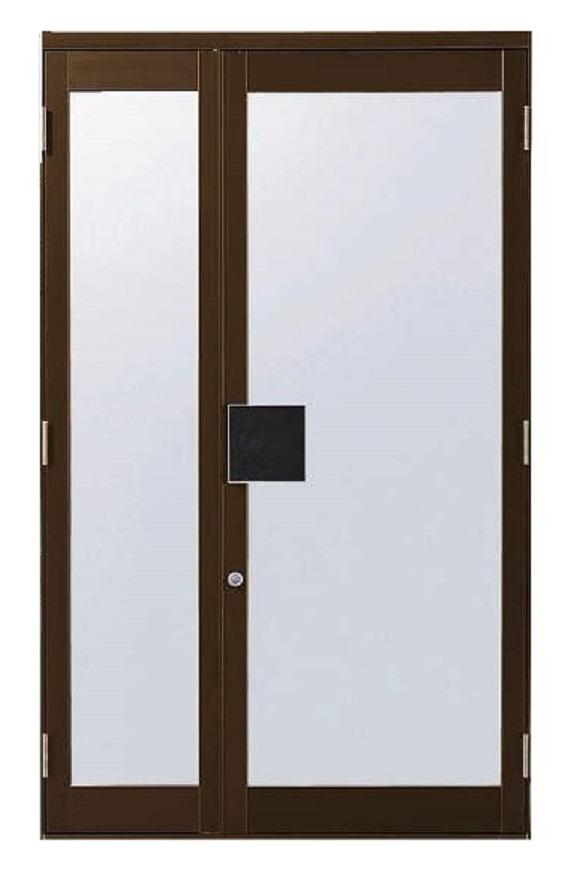 店舗ドアDX 親子ドア ランマなし 全面ガラスドア 押板把手仕様 W:1,350mm × H:2,000mm 単板ガラス仕様 自由開き戸 YKK AP