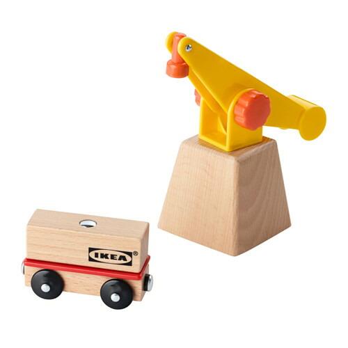 送料無料 メーカー直売 IKEA イケア 返品不可 ベビー おもちゃ 知育玩具 z10320100 LILLABO クレーン ワゴン3点セット セット 車