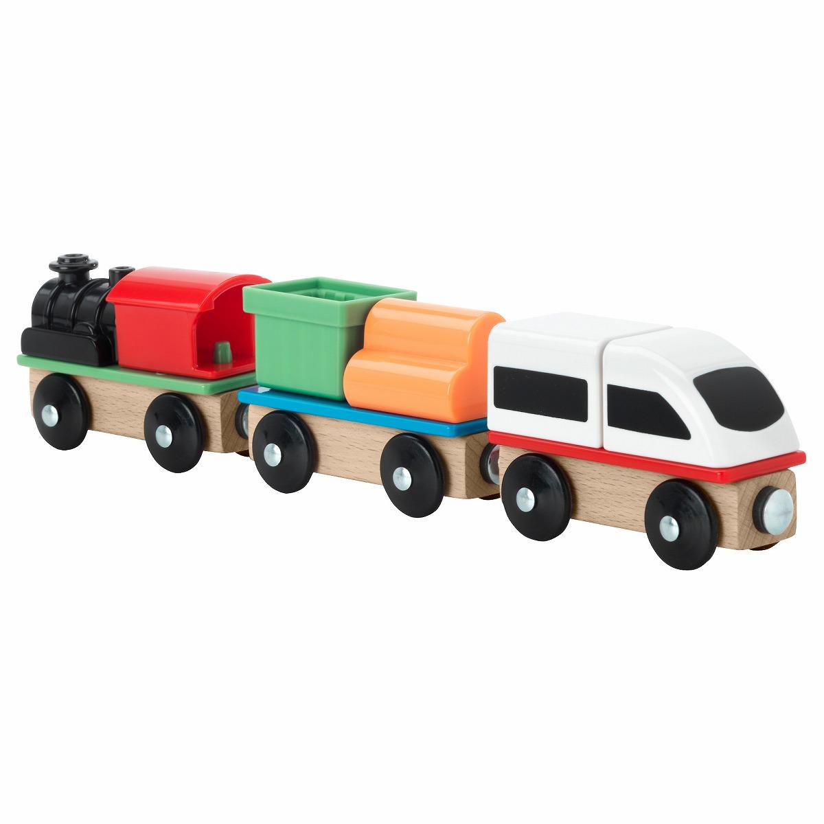 送料無料 IKEA イケア ベビー おもちゃ 実物 知育玩具 LILLABO 正規品スーパーSALE×店内全品キャンペーン 3ピース 電車 列車セット セット z30320095