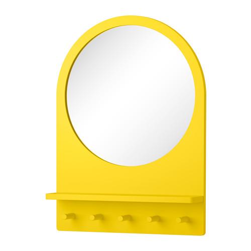 IKEA イケア SALTROD ミラー シェルフ&フック付き イエロー c60297003
