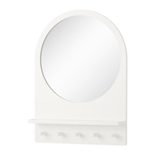 IKEA(イケア) SALTROD ミラー シェルフ&フック付き ホワイト c80305078
