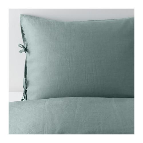 IKEA(イケア) PUDERVIVA 掛け布団カバー&枕カバー (枕カバー2枚) グリーン d00346704