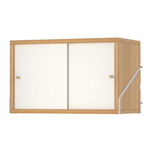 IKEA イケア SVALNAS キャビネット 扉2枚付 竹 ホワイト E20322900