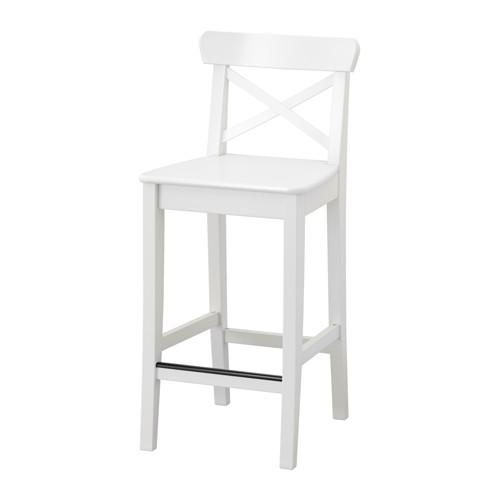 IKEA(イケア) INGOLF バースツール 背もたれ付き ホワイト z20363330