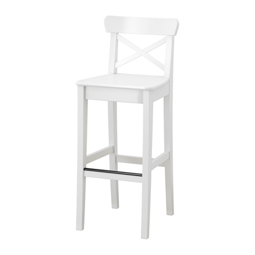 IKEA(イケア) INGOLF バースツール 背もたれ付き ホワイト z90362737
