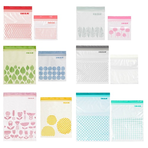 送料無料 IKEA イケア キッチン 収納 ジップバッグ ISTAD v0910 舗 新色追加して再販 イースタード ジッパー袋 フリーザーバック 2サイズセット プラスチック袋