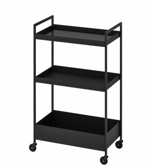 送料無料/IKEA イケア キッチン 収納 3段ワゴン IKEA イケア NISSAFORS ワゴン ブラック 黒 n60407365