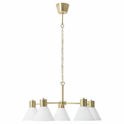 IKEA イケア シャンデリア 5アーム 黄銅色 ガラス n00463444 FLUGBO