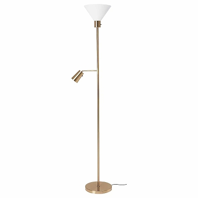 送料無料 IKEA 照明 ライト 正規販売店 フロアランプ イケア 読書ランプ フロアアップライト 黄銅色 FLUGBO n60463380 贈呈 ガラス