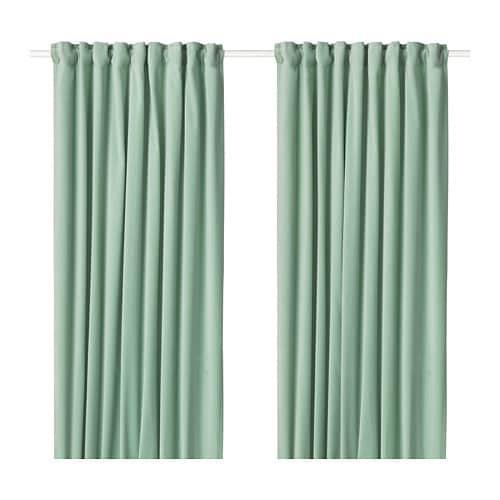 IKEA イケア カーテン 長さ250cm×幅140cm 1組 ライトグリーン z40418906 SANELA