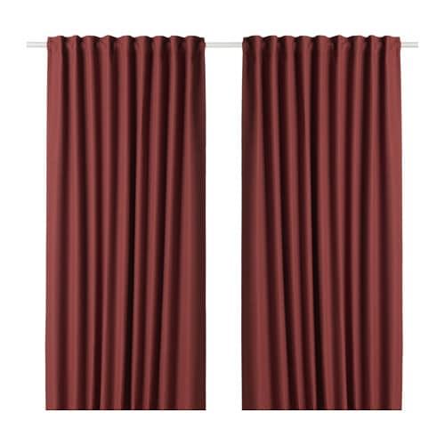 IKEA(イケア) ANNAKAJSA アンナカイサ 遮光カーテン1組 ブラウンレッド z50395259