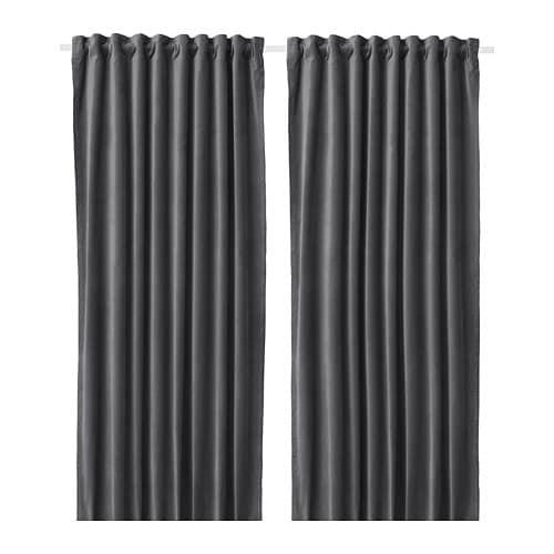 IKEA イケア カーテン 長さ250cm×幅140cm 1組 ダークグレー z60414021 SANELA