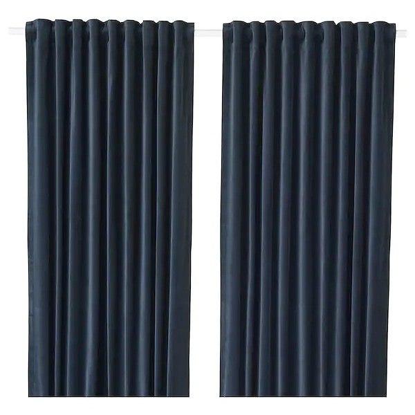 IKEA イケア カーテン 1組 140x250cm ダークブルー n60444481 SANELA