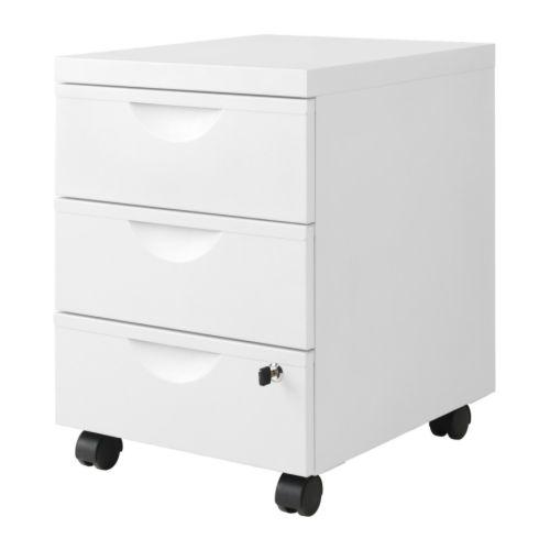 IKEA イケア 引き出しユニット 引き出し×3 キャスター付き ホワイト 41x57 cm d30176069 ERIK