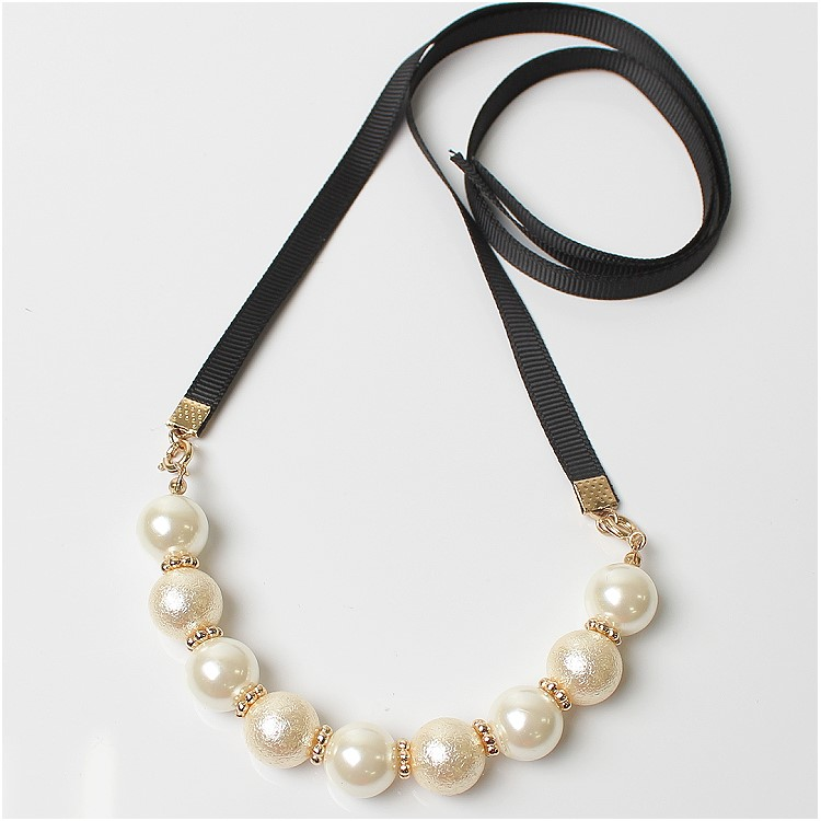 Partycollection Claire Pearl Necklace Ribbon Necklace