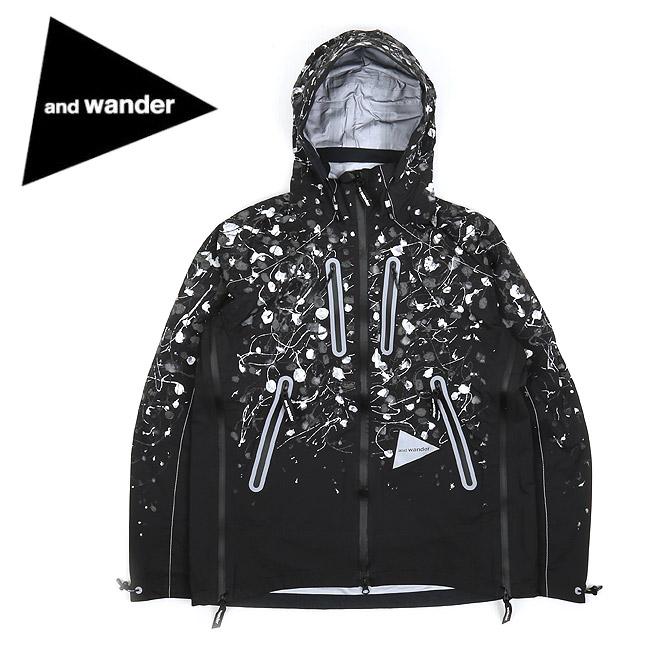 【服】 and wander アンドワンダー splatter hand paint e vent jacket スプラッターハンドペイントイーベントジャケット AW93-FT055 【アウター/メンズ/おしゃれ/アウトドア】
