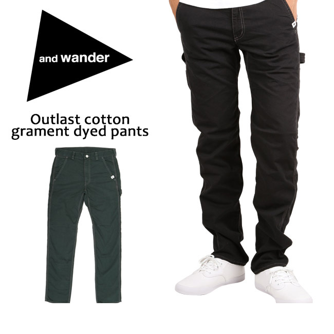 ★ アンドワンダー and wander パンツ Outlast cotton garment dyed pants AW63-FF015 【服】 お買い得