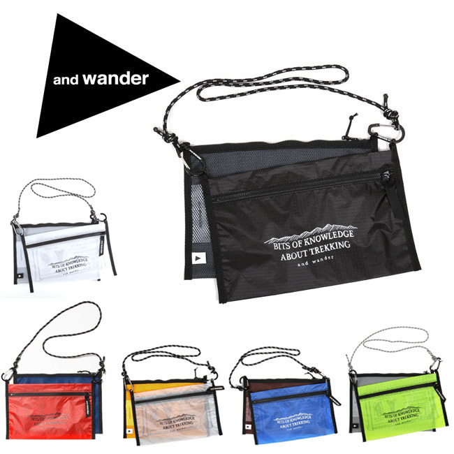 アンドワンダー and wander サコッシュ ショルダー 斜め掛け twin pouch set AW-AA741 【カバン】【メール便・代引不可】 【clapper】