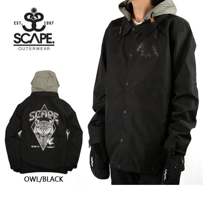 即日発送 2018 エスケープ SCAPE ジャケット COACH Toshikazu Nozaki OWL/BLACK 【スノーウェア】スノーボードウェア 耐水圧・透湿性・撥水加工