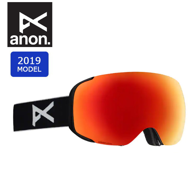 2019 anon アノン ASIAN M2MFI W/SPARE BLACK/SONARRED 20336100054 【ゴーグル/日本正規品/アジアンフィット/メンズ】