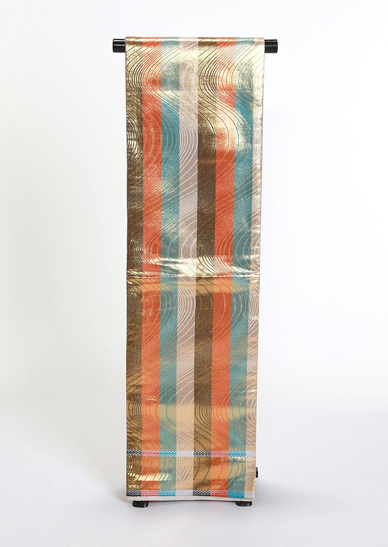 【 1点物 】【送料無料】濃薄金・オレンジ・青の縞柄正絹丸帯 (sto7)(USED品)【中古】