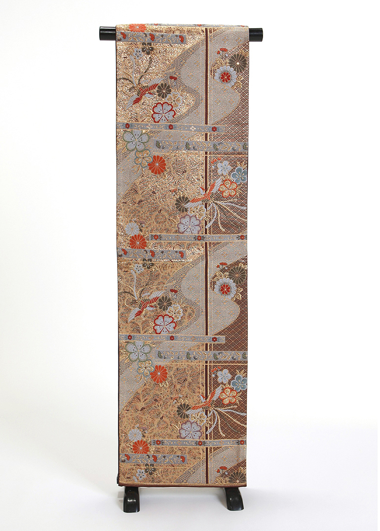 【 1点物 】【送料無料】焦げ茶に金の花唐草・鳳凰・桜正絹袋帯 (sto9)(USED品)【中古】