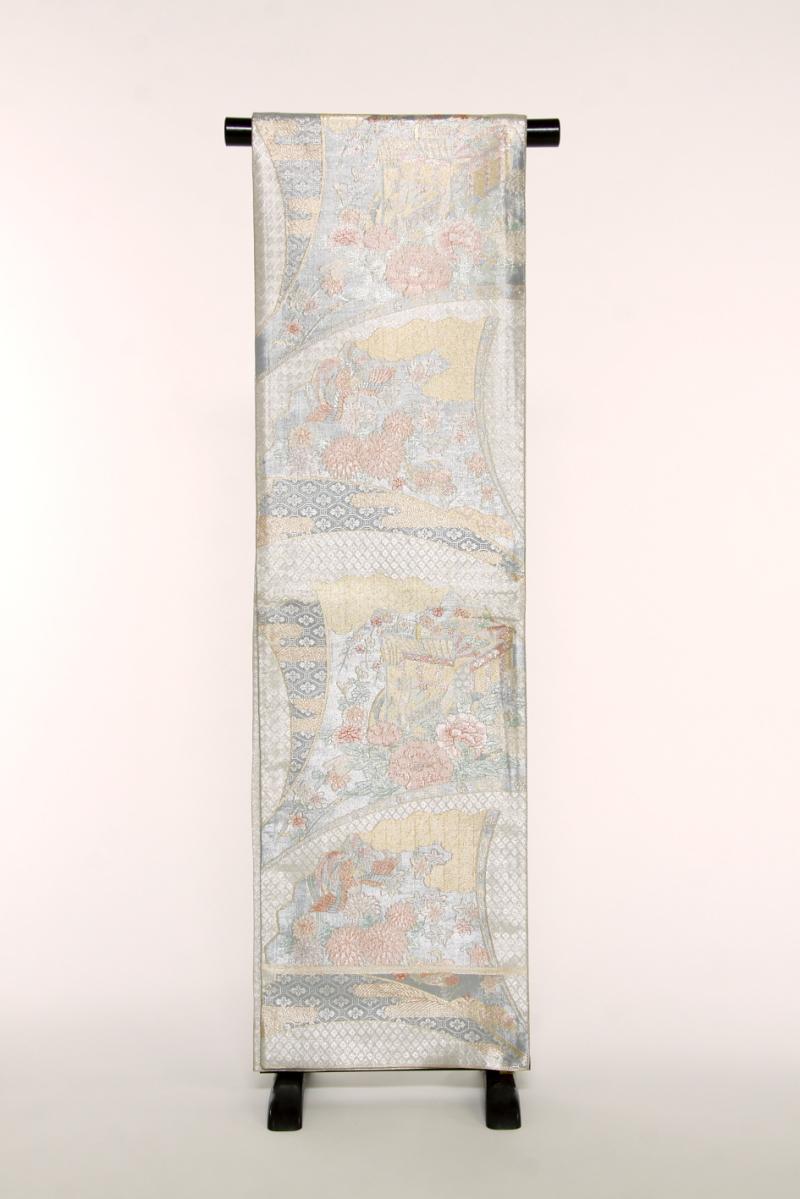 【送料無料】 銀地に柄入り扇 正絹袋帯 (st337)(USED品)【中古】【和装】【着物】【女性】【帯】