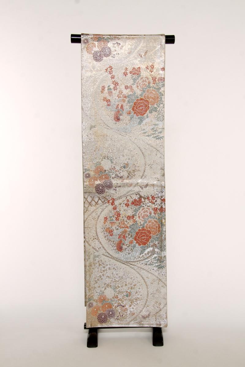 【 1点物 】【送料無料】 金銀に花々や鳥 正絹袋帯 (st338)(USED品)【中古】