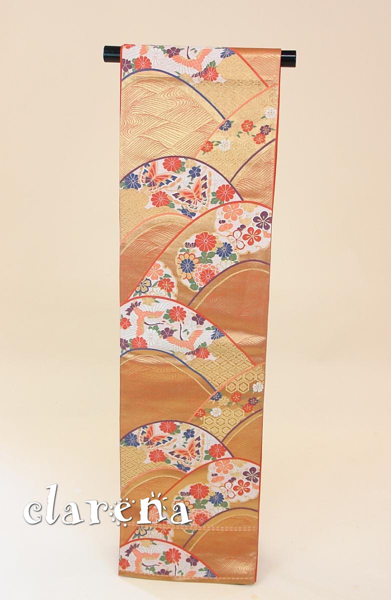 【送料無料】 オレンジゴールド 蝶・雪輪・鶴 正絹袋帯 (FOBL739)(USED品)【中古】