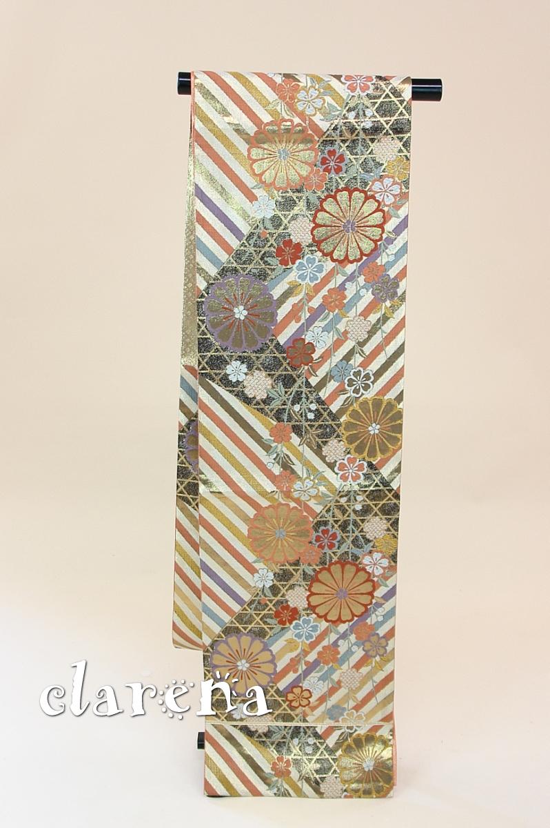 【送料無料】 金に黒・オレンジ枝垂桜・斜めストライプ正絹袋帯 (FOBL742)(USED品)【中古】