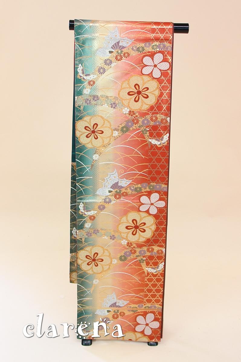 【送料無料】赤茶に深緑・金 菊・蝶々・雪輪 正絹袋帯 (FOBL746)(USED品)【中古】【和装】【着物】【女性】【帯】