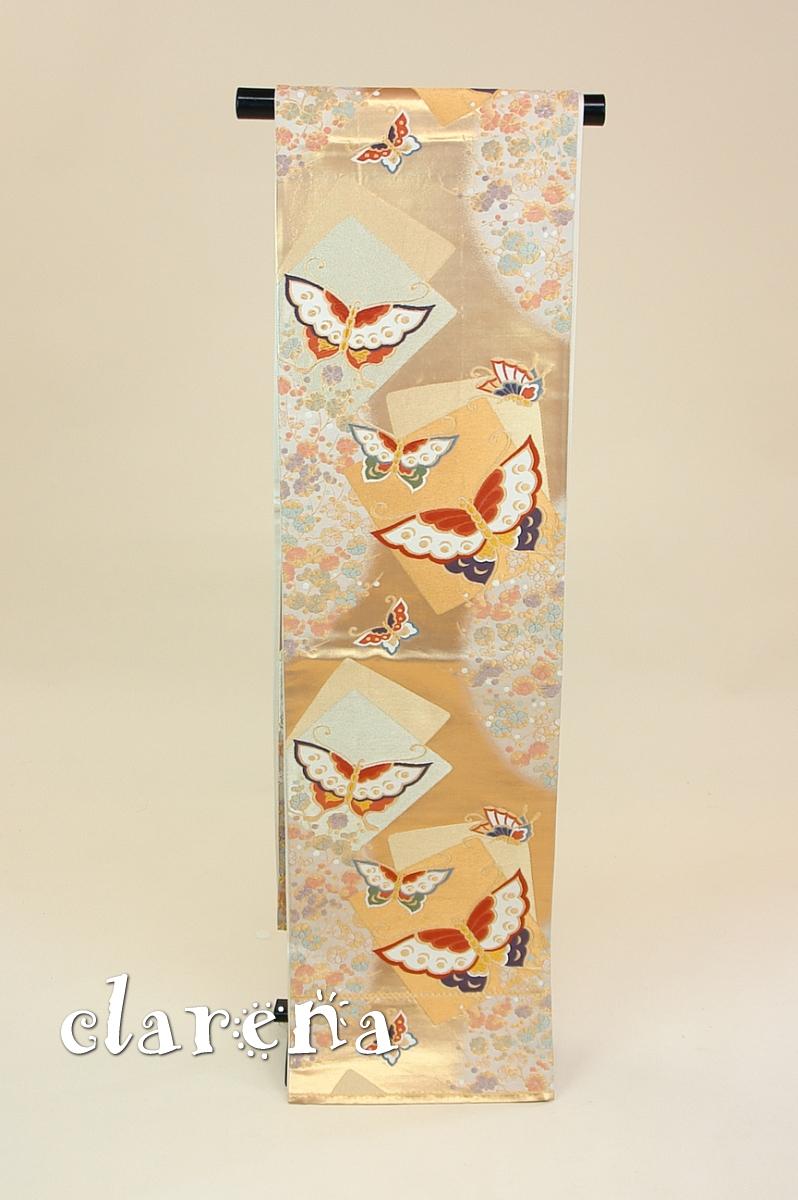 【送料無料】 アイボリー・オレンジゴールド・茶 色紙・梅・蝶正絹袋帯 (FOBL774)(USED品)【中古】